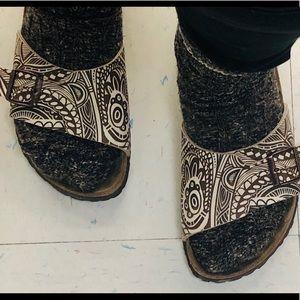 Birkenstock Birkis Brown Print Buckle Sandals